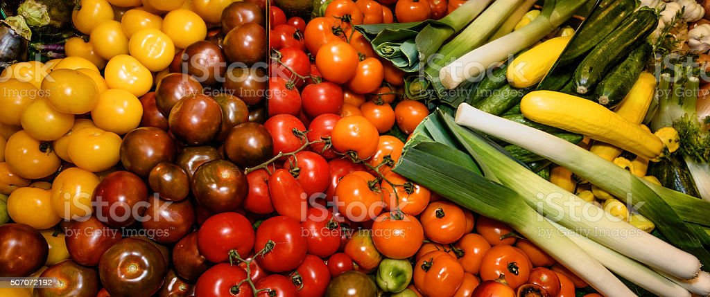 Vegetables, tomatoes of different varieties, zucchini, fennel, leek. Healthy eating stock photo