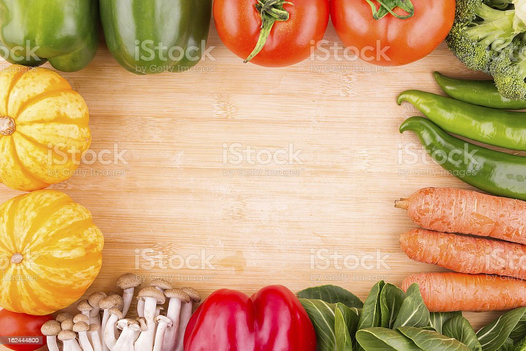 Vegetables variety and Frame:diet royalty-free stock photo