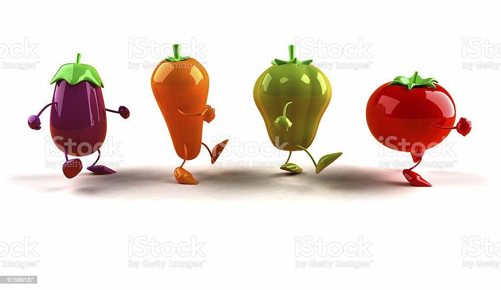 Vegetables walking royalty-free stock photo
