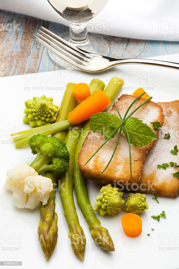 vegetables with fish stock photo