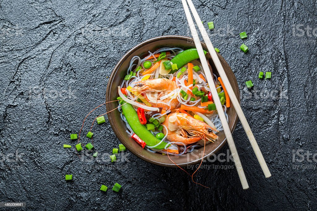 Vegetables with noodles and shrimp stock photo