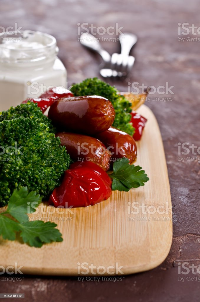 Vegetables with sausage stock photo