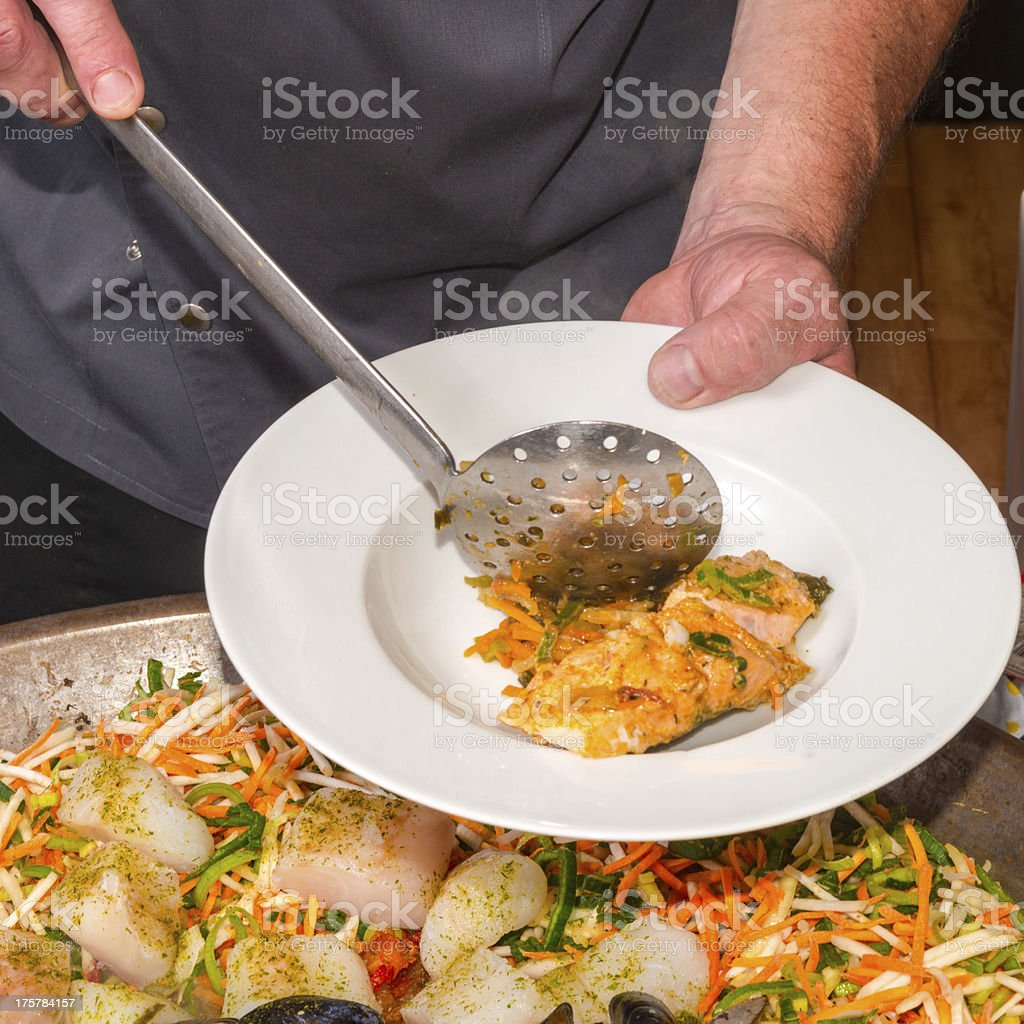 Vegetables with sea fruits royalty-free stock photo