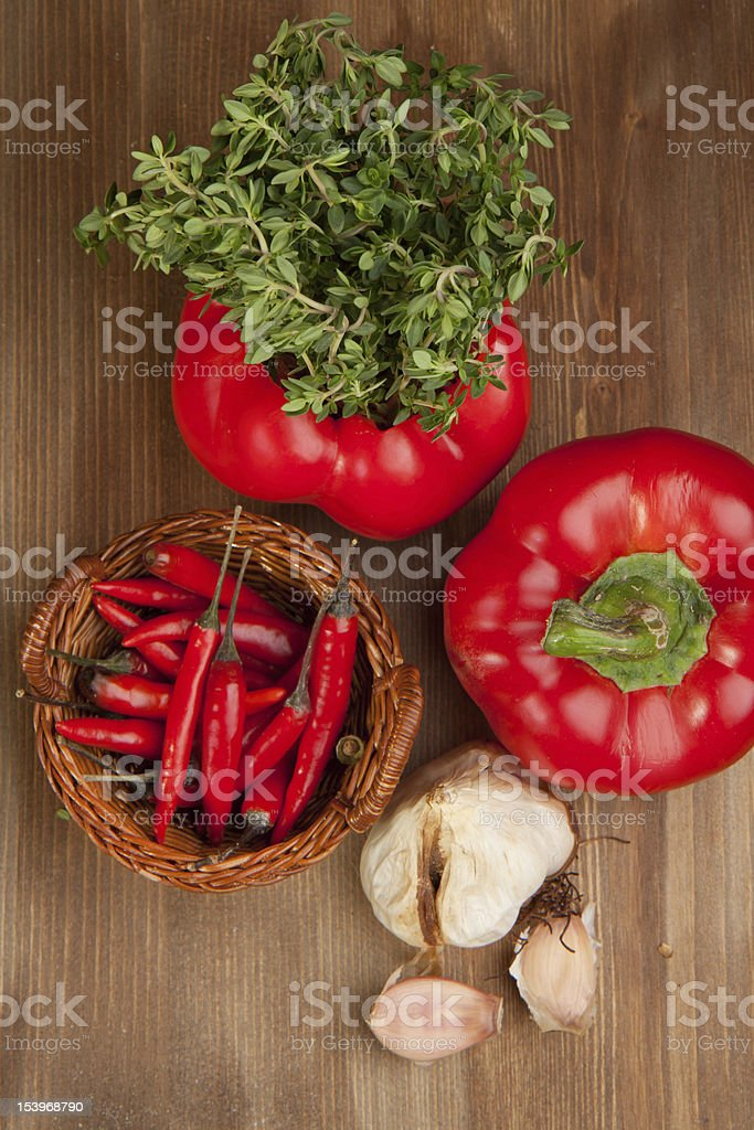 Vegetables with the herb stock photo