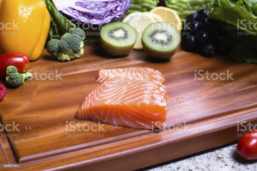 Vegetarian and Salmon royalty-free stock photo
