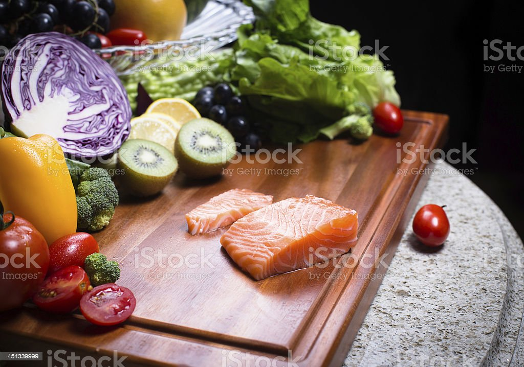 Vegetarian and Salmon royalty-free stock photo