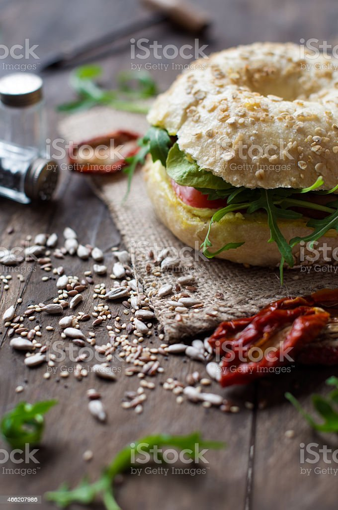 Vegetarian bagel stock photo