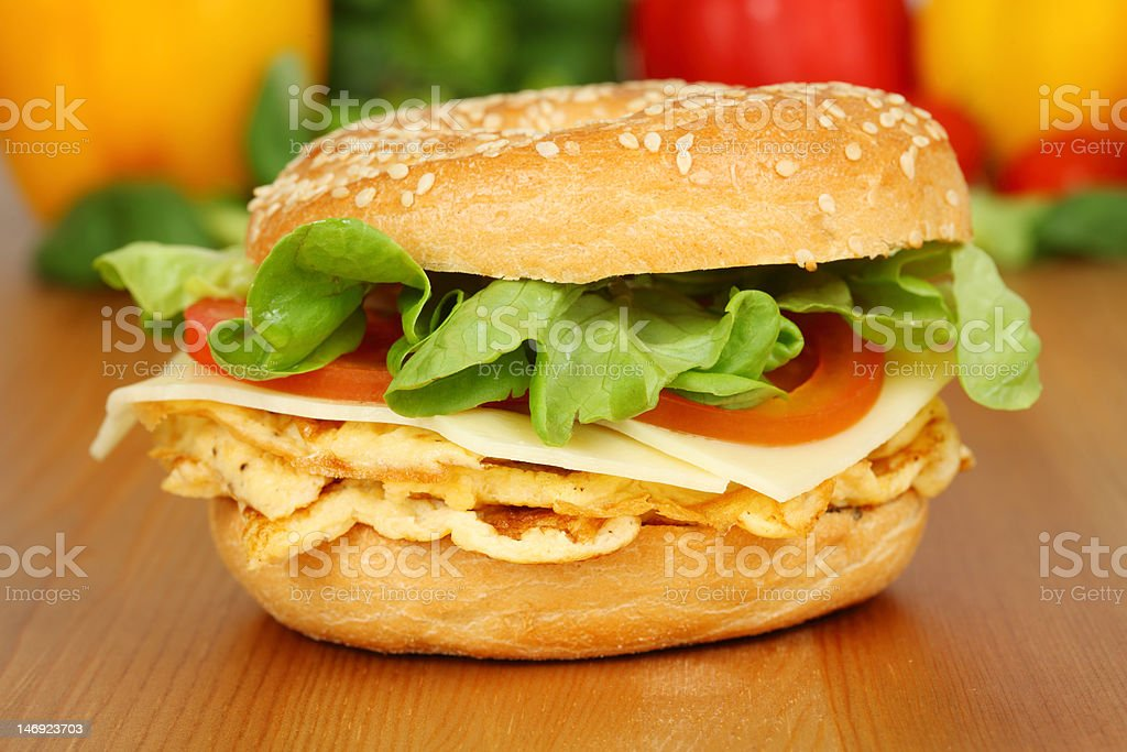 Vegetarian bagel sandwich with omelet royalty-free stock photo