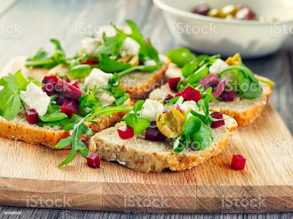 Vegetarian  beetoot open sandwich stock photo