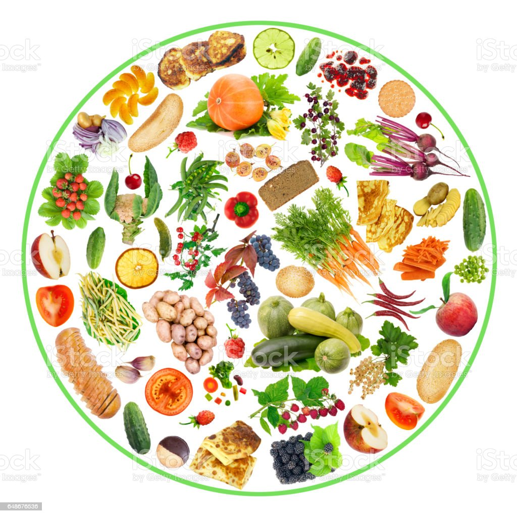 Vegetarian bio ecological food - fruit, vegetables and bread on my plate concept. Circle isolated handmade collage stock photo