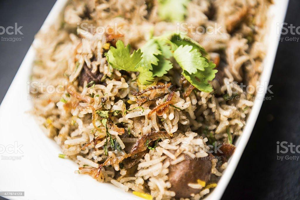 Vegetarian Biryani with Saffron and Cilantro stock photo