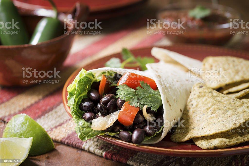 Vegetarian Black Bean Burrito stock photo
