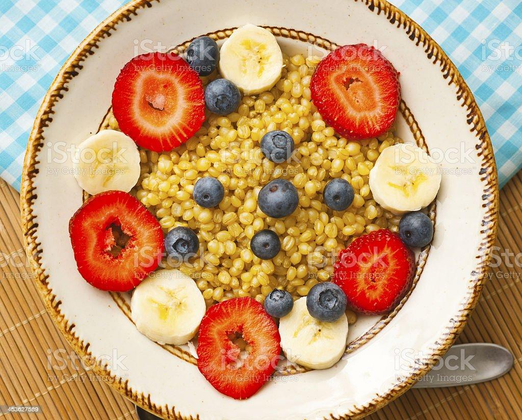 Vegetarian Breakfast: Wheatberries with Fruit royalty-free stock photo
