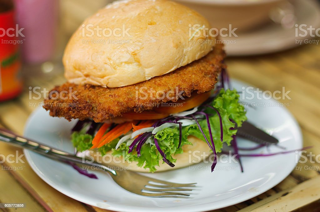 vegetarian burger made from vegetables and breadcrumbs stock photo