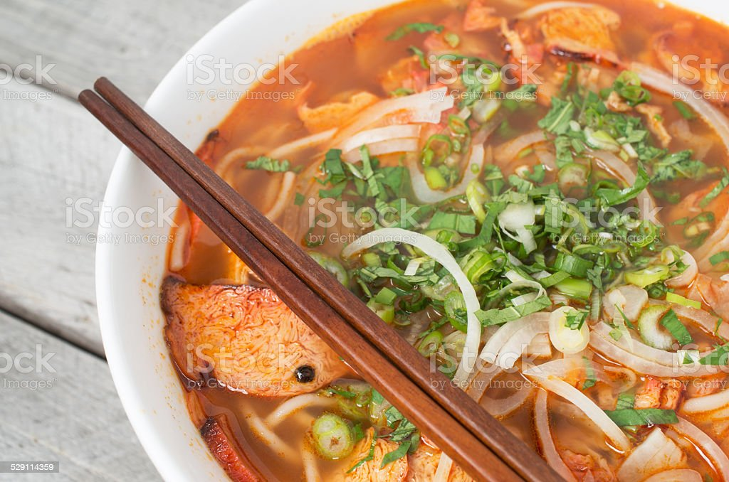 Vegetarian central Vietnamese hot and spicy soup stock photo