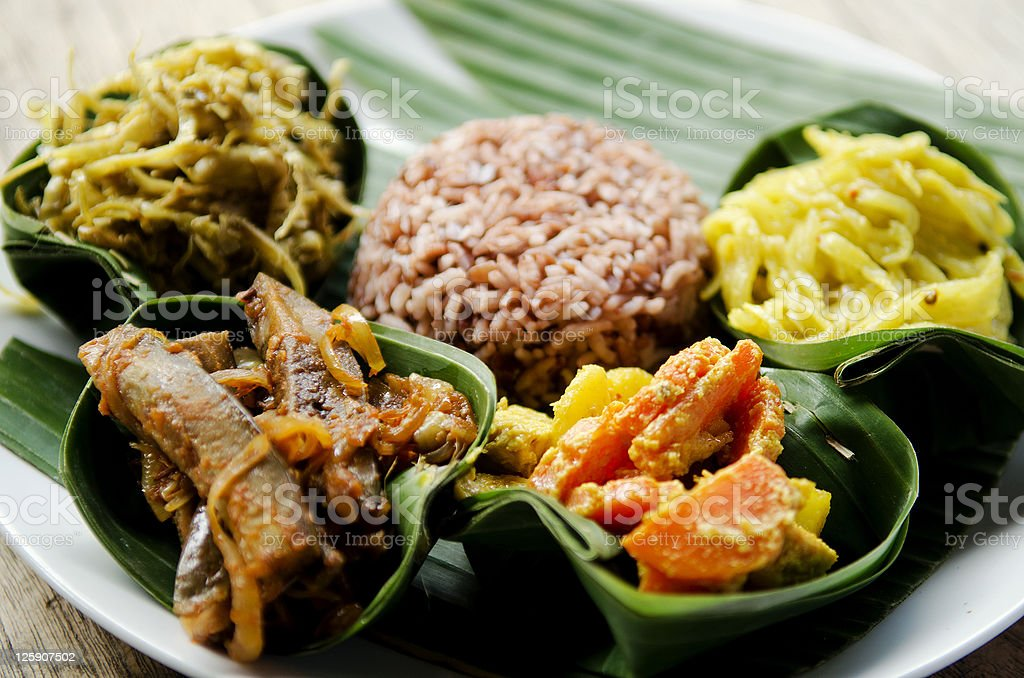 vegetarian curry with rice in bali indonesia stock photo