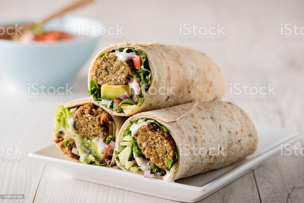 Vegetarian falafel wraps stock photo