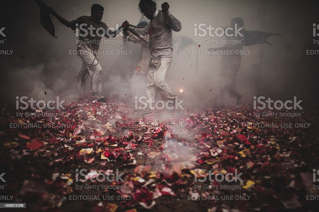 Vegetarian festival in TAKUAPA,PHANG NGA,THAILAND. stock photo