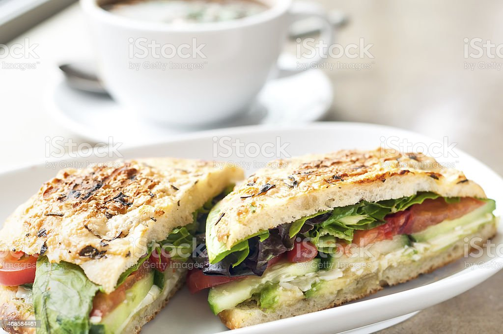 Vegetarian Focaccia Bread Sandwich and Soup stock photo