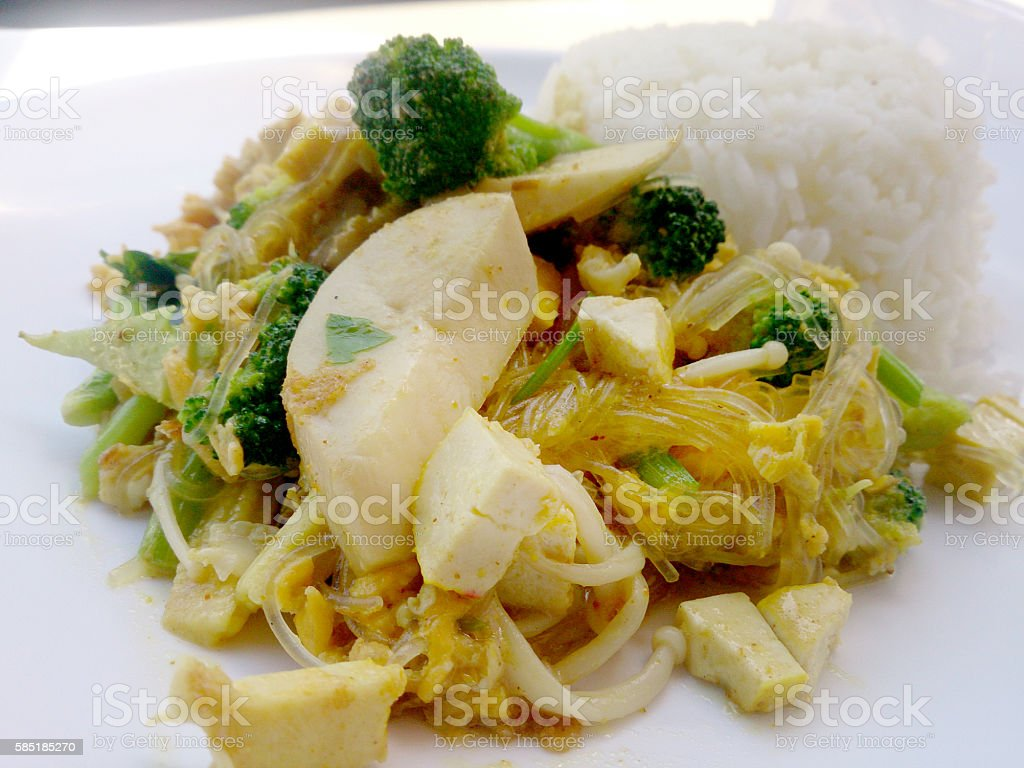 Vegetarian Food with fried vegetables with noodles stock photo