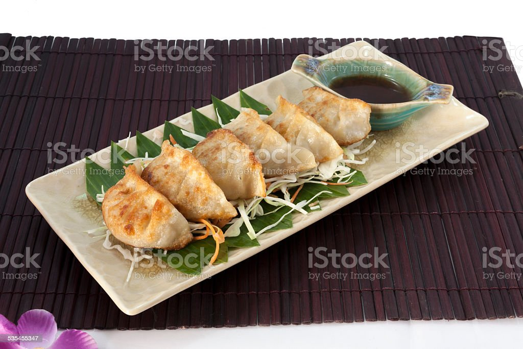 Vegetarian Gyoza with Japanese sauce royalty-free stock photo