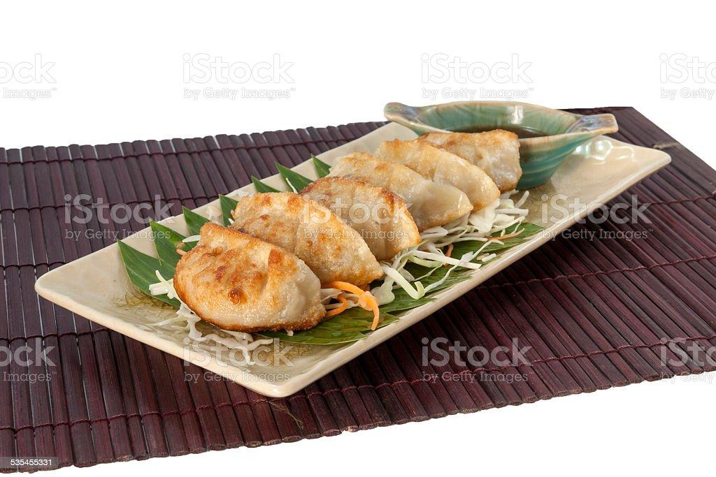 Vegetarian Gyoza with japnese sauce royalty-free stock photo