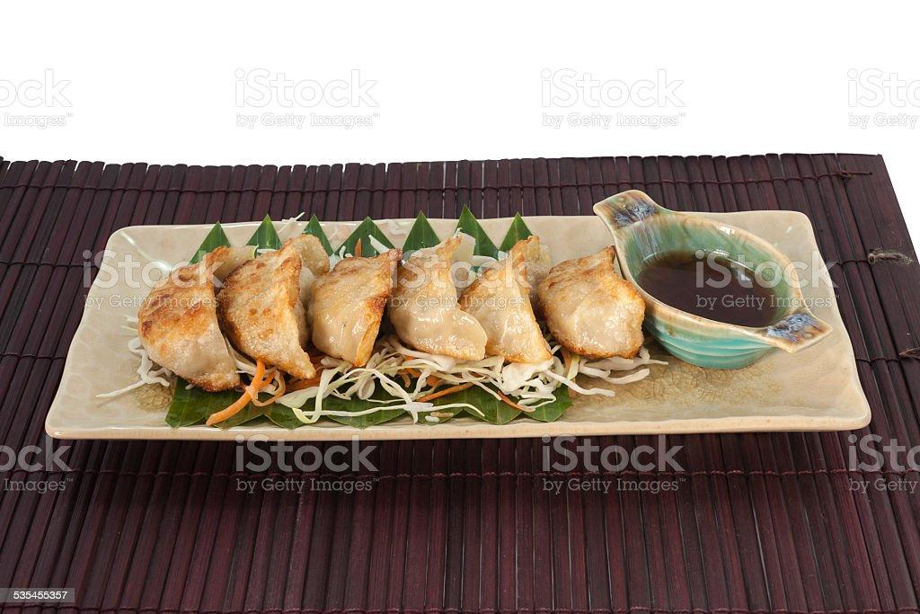 Vegetarian Gyoza with sauce royalty-free stock photo