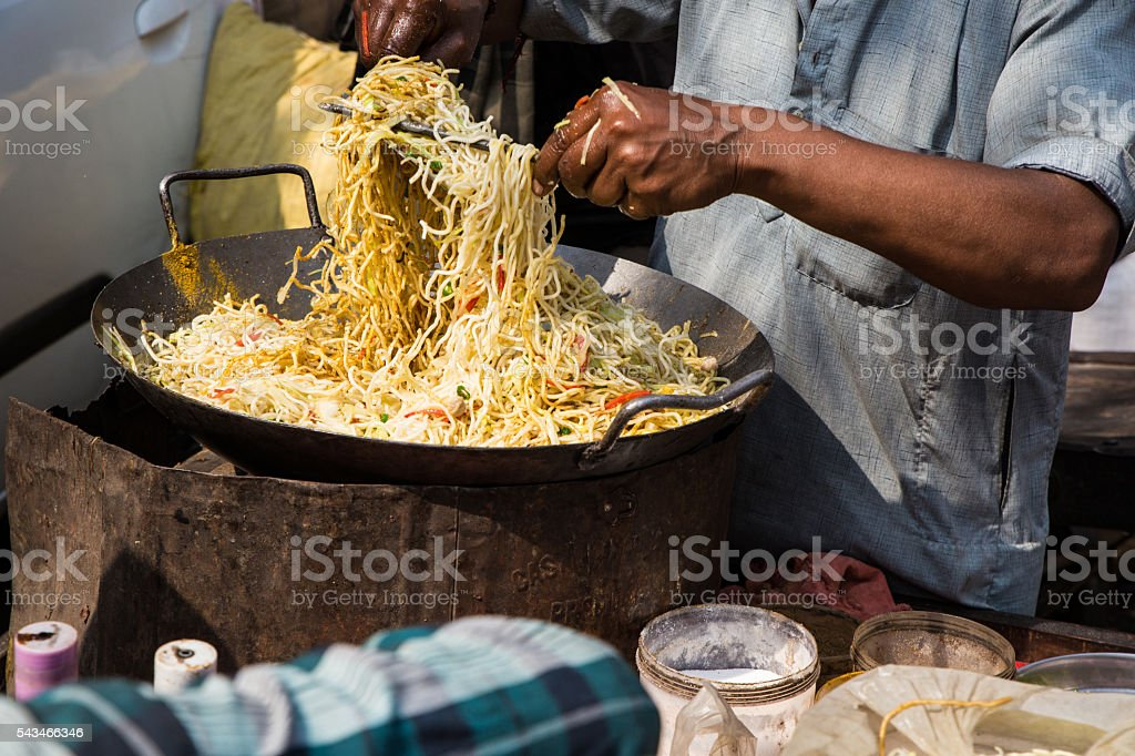 Vegetarian Hakka Noodles stock photo