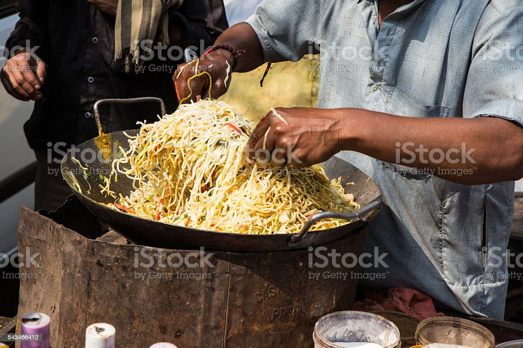 Vegetarian Hakka Noodles stock photo