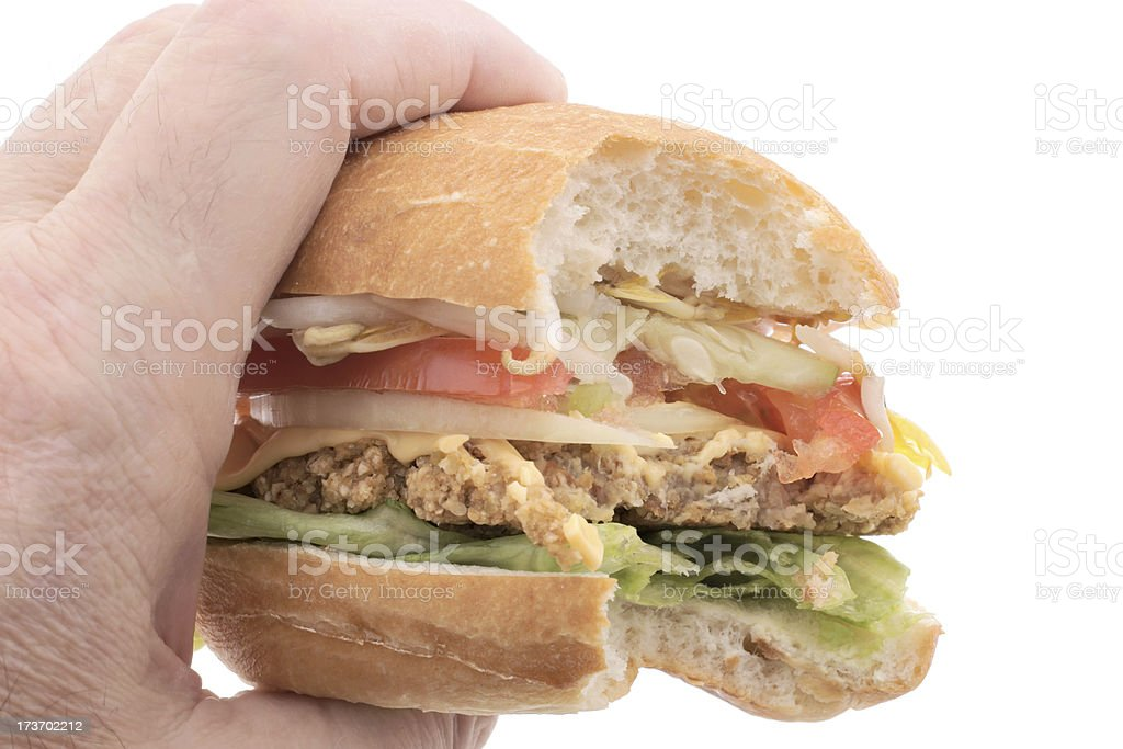 vegetarian hamburger with bite missing royalty-free stock photo