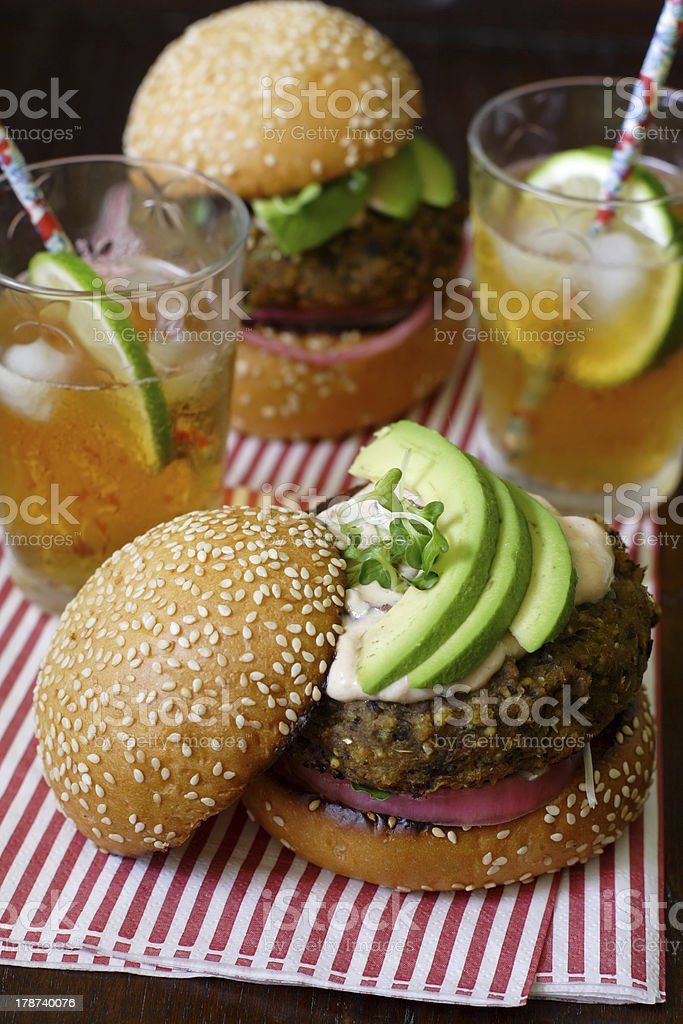 Vegetarian hamburgers for two royalty-free stock photo