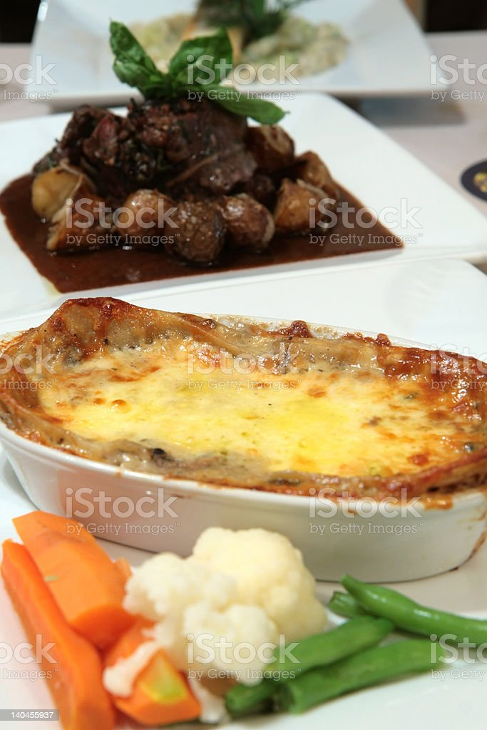 Vegetarian lasagna with pasta and cheese royalty-free stock photo