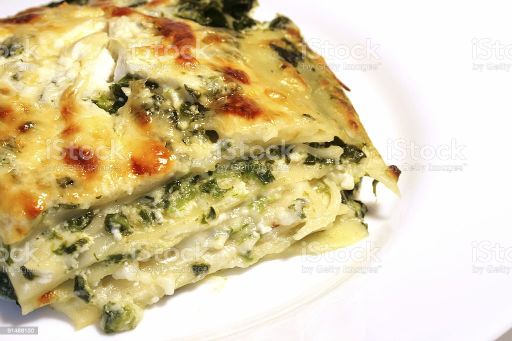 Vegetarian lasagne with ricotta cheese and spinach filling royalty-free stock photo