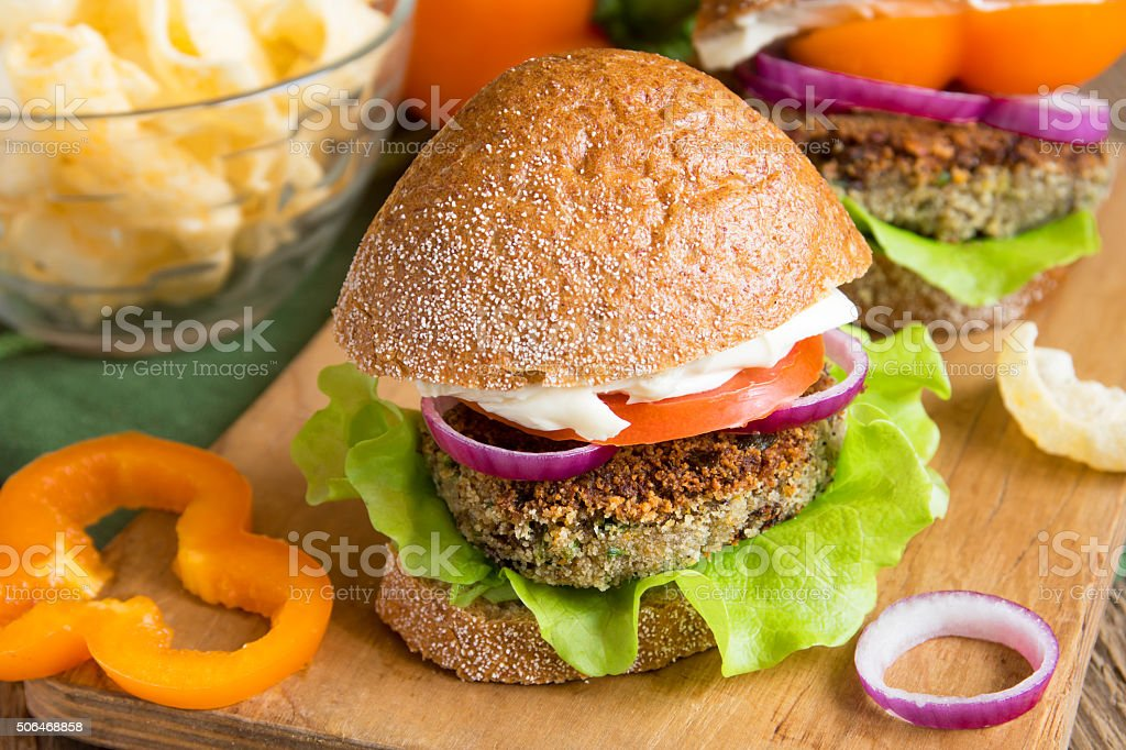 Vegetarian lentil burger stock photo