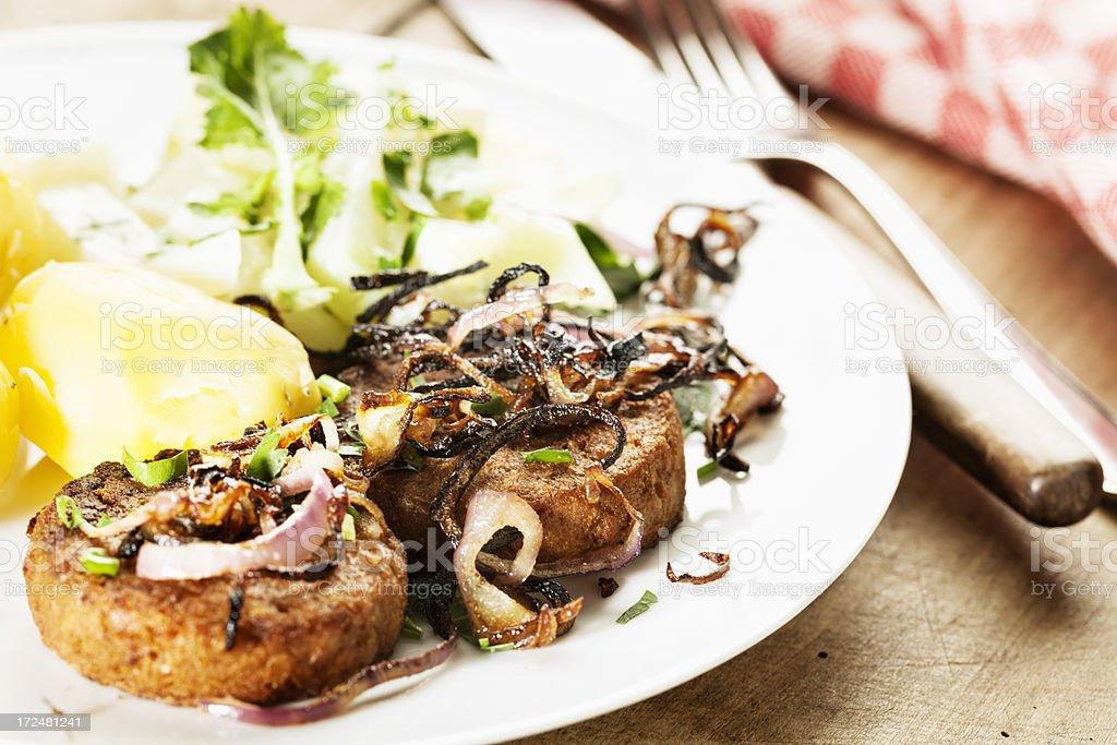 vegetarian loaf, potato and Kohlrabi course royalty-free stock photo