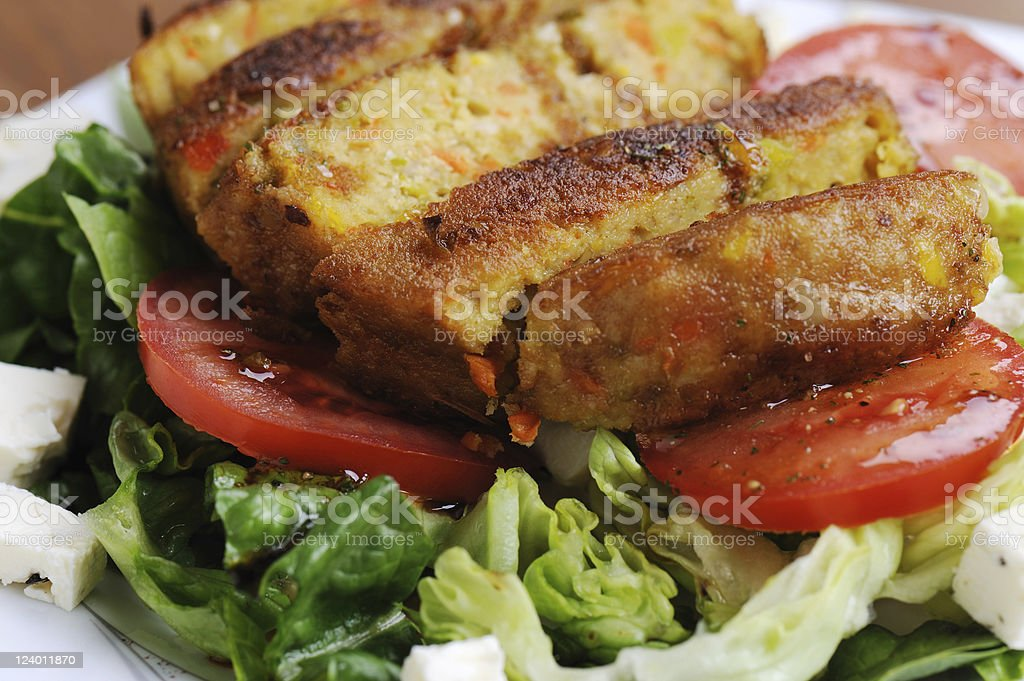Vegetarian Meal Vegetable Burger Romana Salad with Tomatoes royalty-free stock photo