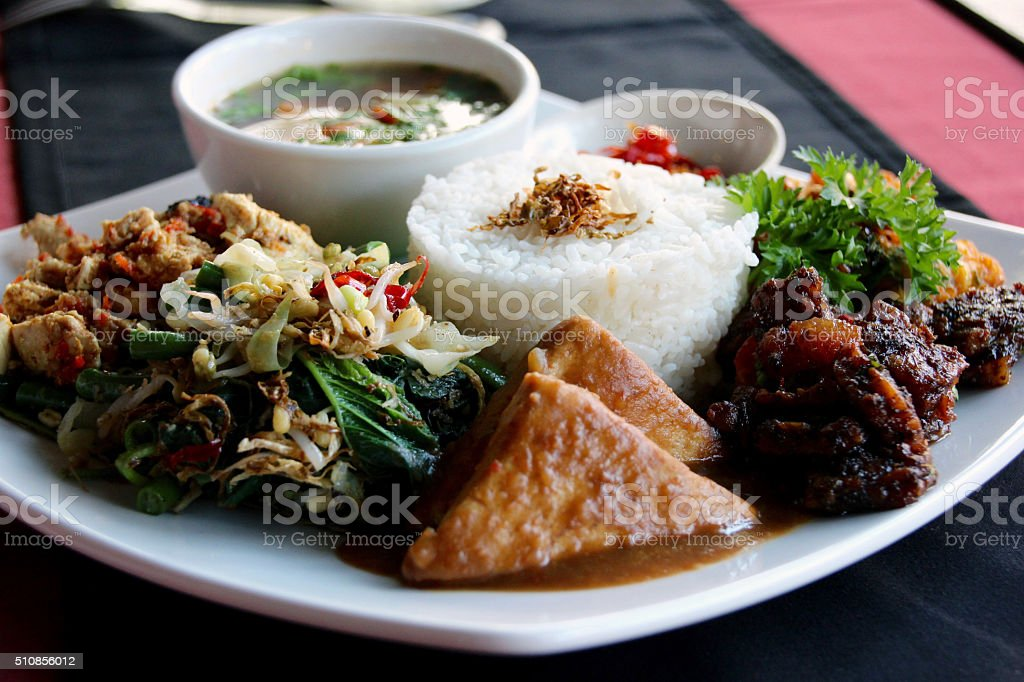 vegetarian nasi campur stock photo