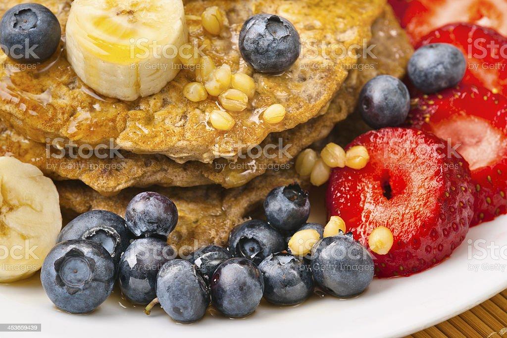 Vegetarian Pancake Breakfast: Wheatberries with Fruit royalty-free stock photo
