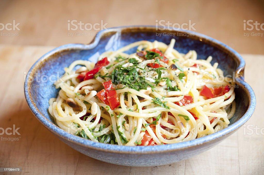Vegetariano Pasta Alla Carbonara foto stock royalty-free