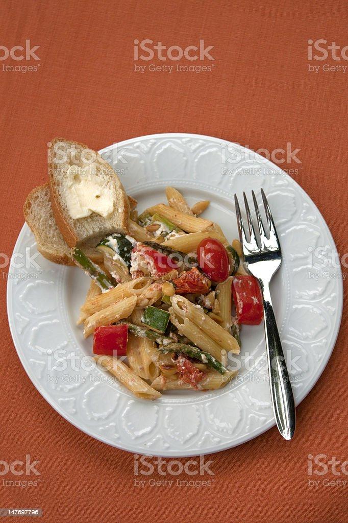 Vegetarian Pasta Dish Vertical royalty-free stock photo