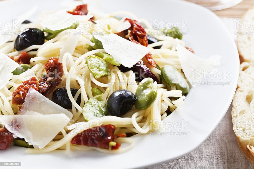 vegetarian pasta fava beans olives pecorino royalty-free stock photo