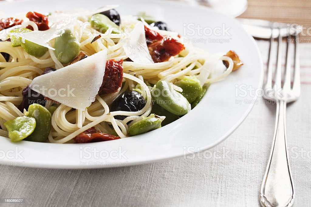 vegetarian pasta fava beans olives pecorino stock photo