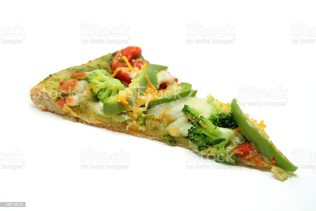 Vegetarian pizza slice with broccoli, peppers, and cheese stock photo
