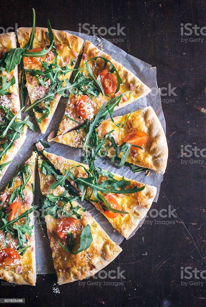 Vegetarian pizza slices stock photo