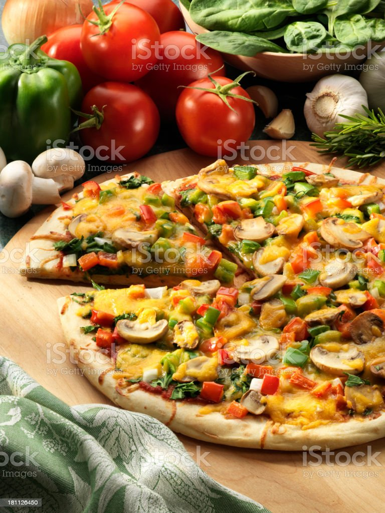 Vegetarian Pizza with ingredients stock photo