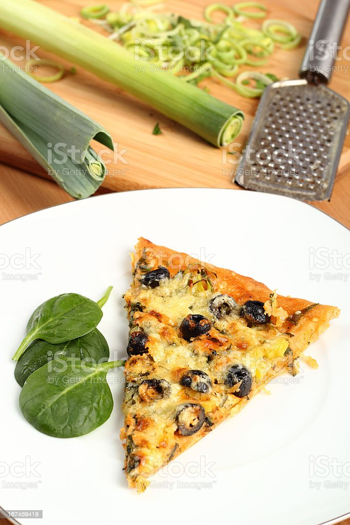 Vegetarian Pizza with Leek and Spinach royalty-free stock photo