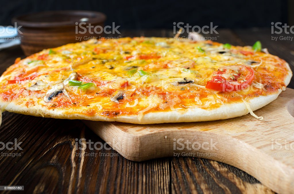 Vegetarian pizza with mushrooms and cheese stock photo