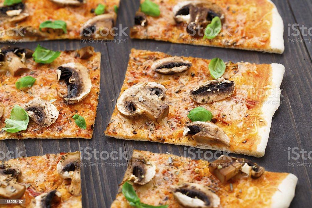 Vegetarian pizza with mushrooms stock photo