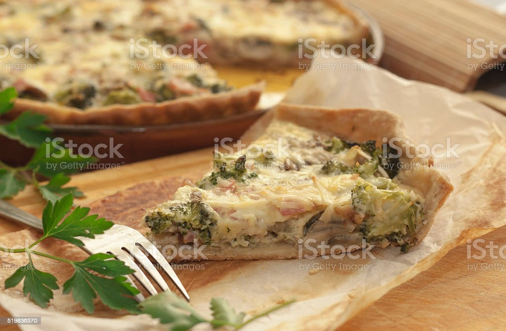 Vegetarian quiche with broccoli. stock photo