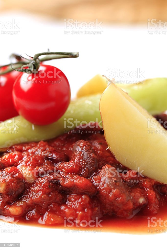 Vegetarian red bean and tomato recipe stock photo